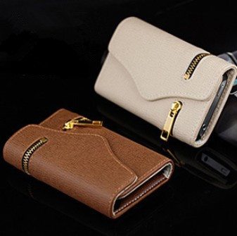 Brand Luxury Pure Flip Wallet Card Holder Belts Zipper Leather Cases Cover For Apple iphone 4 4G 4S 5 5G 5S Handbags 0170(China (Mainland))