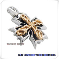 Hot sale Men's Silver Gold Maltese Cross Stainless Steel Pendant with Chain Necklace Free Shipping P#130 Fashion Style