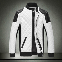 Free Shipping New Brand High Quality Mandarin Collar Down Jacket Pu leather wadded jacket, Men winter parkas Outwear Down