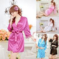 Sexy Women Grown Sleep Ware Rayon Silk Sleepwear Nightdress Robes Pajamas