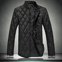 2013 New Brand Quality Man's The Coat Mandarin collar Down Coats,Mens Plaid Thin Jackets Winter Parkas Bige Size 5XL xxxxxl