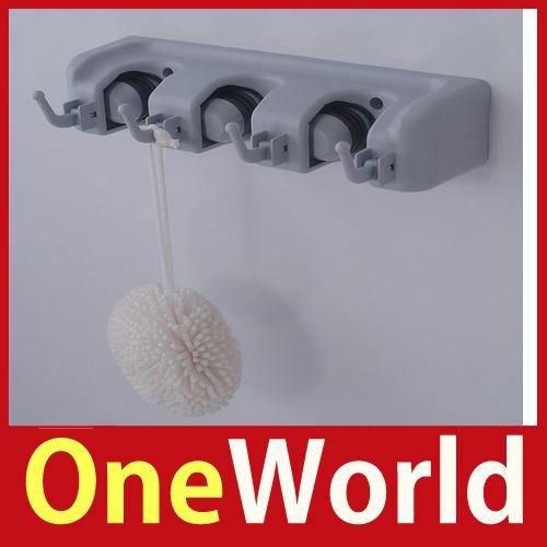 One world 3 position wall mount kitchen storage rack mop broom