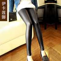 Matt faux leather legging autumn and winter leather pants female trousers plus velvet thickening tights.High quality low price