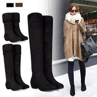 2013 autumn and winter vintage flock brief tall boots low heel high-leg over-the-knee flat heel winter boots / free shipping