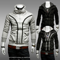 2013 spring fashionable casual slim color block cardigan sweatshirt thin outerwear sweatshirt male wy24