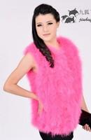 Winter ostrich wool female vest outerwear turkey wool medium-long vest fur clothing free shipping