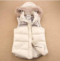 Retail 2013 New Fashion Women Hooded Fur Vest / Down Vests 2 Colors 10599