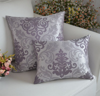 Free shipping high quality pillow cover 2pcs/lot  plain backrest cushion pillow cases purple + silver double color silk pillow