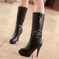 Autumn and Winter Women's Stiletto Medium-leg Single 34 - 43 Plus size Women long boots