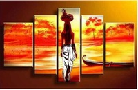 Indian Beauty love 5 Screen HAND PAINTED Pop canvas Modern Decorative Portfolio Abstract art  gift Back Nude oil paintings 5pcs
