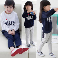Spring and autumn female child children's clothing sports set 2 3 4 5 6 clothes long-sleeve trousers twinset