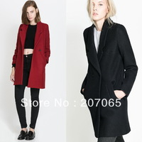 Free Shipping New Arrival Double-breasted Women's Down Coats,Women Woolen Coat  2 Color Size S,M,L