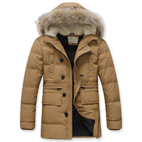 Free Shipping Branded Winter Super Warm Man's Down Jacket Big Fur Man Down Coat Long Style Winterwear 90% White Duck DownJK