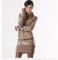 2013 Winter Women's Long Stretch Design Turtleneck Sweater Dress Warm Thicken Pullover Crochet Jumper Knitted Outwear Coat