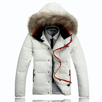 New Arrival Christams Winter Large Fur Collar Short Down Jacket Man High Quality Super Warm Down Coat Men White Duck Down