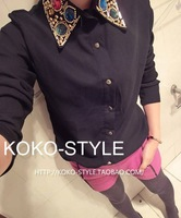 2013 Spring summer Hold Gold Beads Gorgeous Diamond Gold Button Chiffon Shirt Fashion Female Blouse tops B1002