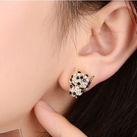 Wholesale 2014 New Arrived Fahion Elegant Atmosphere Panther Head Inlay Full Rhinestone Statement Stud Earring JE34
