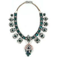 Luxury shourouk green stones crystal gem pvc film choker necklace star brand statement necklace fashion accessories d36
