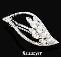 Sweet Zircon Rhinestone Leaf Wedding Hair Clips for Women White Gold Plated Bridal Barrettes Hair Wear Cheap [ Beautyer ] BFS06