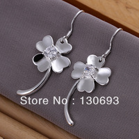 Hot Sell 925 Silver Earrings For Woman Fashion Jewelry  Gem-set a clover earrings butterfly 4.3CM*1.6CM Free Shipping