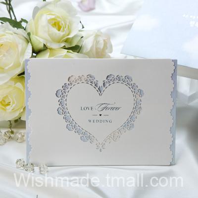 50pcs/set free envelop and free seal laser cut heart shape Tri-fold Invitation card W1140(China (Mainland))