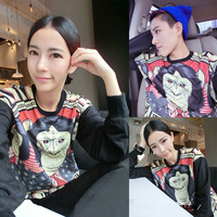2013 Fashion Gorilla print Pattern Lovers Long-sleeve T-shirt Hoodies Women's and  Men's   sweatshirt Free shipping