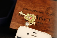 Cute Musical Guitar with Bling Diamond Rhinestone 3.5mm Headphone Jack Charm Anti Dust Plug Ear Cap for iPhone 5,4,Samsung S4 S3