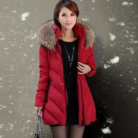 2013 winter high quality luxury raccoon large fur collar medium-long down coat female