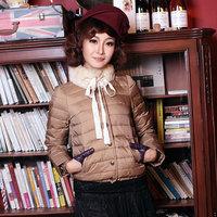 2012 detachable card rabbit fur vintage slim waist short design down coat