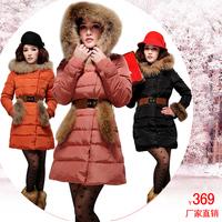 2013 autumn and winter large fur collar down coat thickening fur outerwear women's medium-long