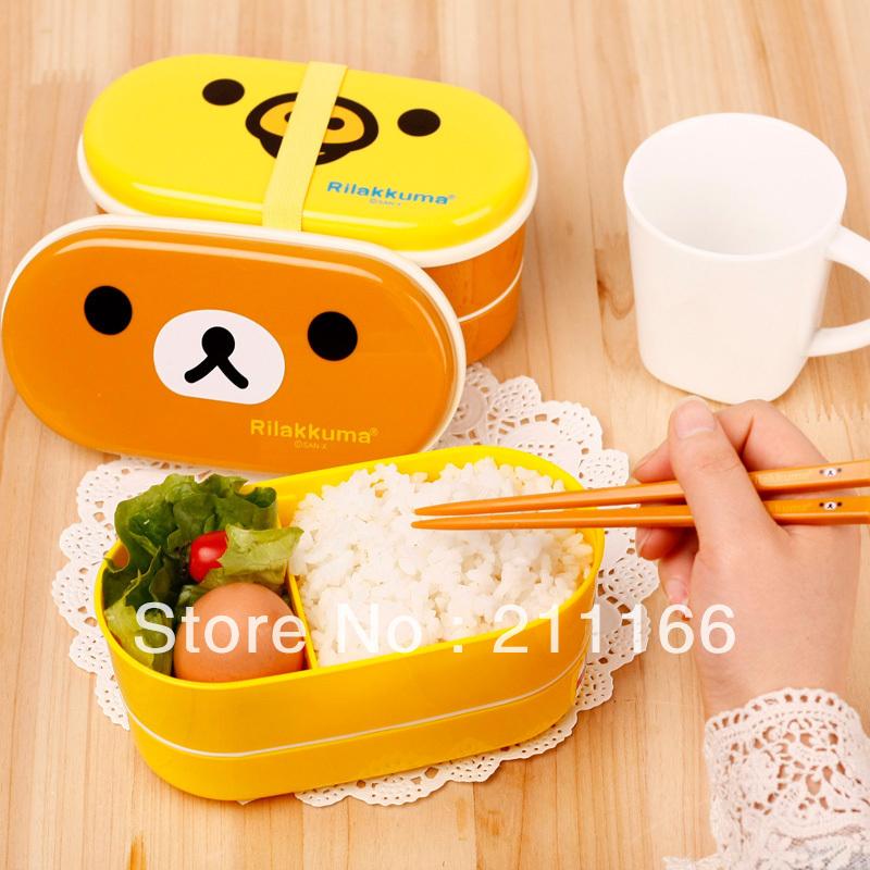 Free shipping 2 colors Relax Bear heat preservation lunch box Rilakkuma Bento with Chopsticks hot selling(China (Mainland))