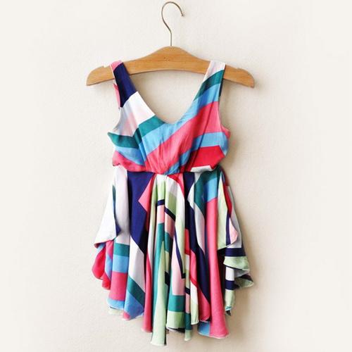 New summer,girls beach dress,children summer dress,babys vest dress,cotton,patchwork,sleeveless,0-5 yrs,5 pcs/lot,wholesale,0321(China (Mainland))