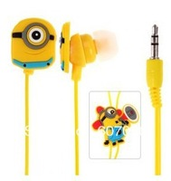 1pc/lot China Post FreeshipingCute Despicable Me The Minion Pattern General 3.5mm In-ear Earphone for Various Mobile Phones