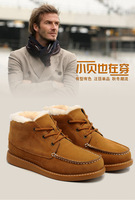 Guaranteed 100% Genuine Leather winter snow Men's Beckham boots warm waterproof  free shipping wholesale retailer