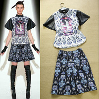 New arrive women's summer runway fashion high street PU patchwork print top shirt + culottes twinset new fashion 2013