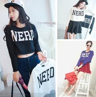 2014 Wholesale Price Letter Long Sleeve Nerd High Waist Navel T Shirt Womens Print Half