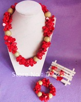 WWL/Free ship!!! Amazing red leaf coral & big charm gold beads coral necklace bracelet earing set coral jewelry set