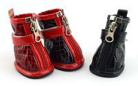 Crocodile pattern PU leather zipper dog shoes classic small pet  shoes Free Shipping