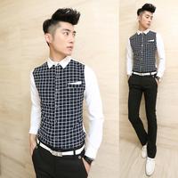 K09 men's clothing 13 slim plaid shirt fashion patchwork long-sleeve slim shirt royal shirt male