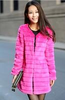 2014 New Faux  women's fur coat rex rabbit hair fur coat medium-long top fur clothing
