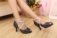 2013 new Woman's dance shoes latin ballroom fashion style black with silver star print dancing wear 8066