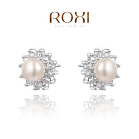 ROXI Christmaspearl Earrings,platinum plated genuine Austrian crystals 100% handmade fashion jewelry,2020268250