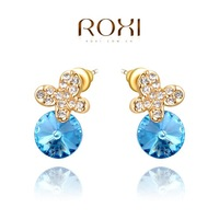 ROXI Christmas butterflyEarrings,gold plated Austrian crystals 100% handmade fashion jewelry,2020230390
