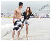 couple lover beach surf board summer swim classics black white striped pattern shorts for women woman man men shorts pants X12
