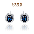 ROXI Christmas luxury blue Earrings,platinum glated Austrian crystals 100% handmade fashion jewelry,2020039570