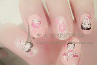 Betty series letter rose nail art applique watermark finger sticker
