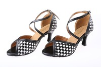 2013 newsest  Latin Dance shoes for adult woman black and white cross handmake pu shoes high quality 8065