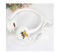 3 Style hot China Freeshiping Despicable Me Cartoon Figure Rushing Posture/3 Guys/I Love You Pattern Stereo 3.5mm Jack Headphone