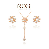 ROXI Christmas Gift Crystal Vintage Set to Girlfriend 100% Man-made Fashion Gold Jewelry Earrings+Pendant Necklace for Party