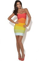 Christmas Hot Sale Rainbow Color Bandage Dress Fashion Sexy Women Off Shoulder Evening Celebrity Party Bodycon Dress New Arrival